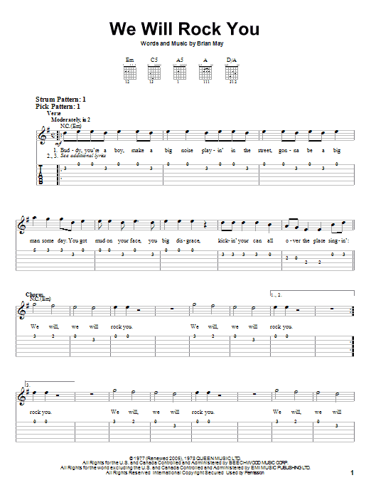 Berühmt Tablature guitare We Will Rock You de Queen - Tablature guitare facile UQ91