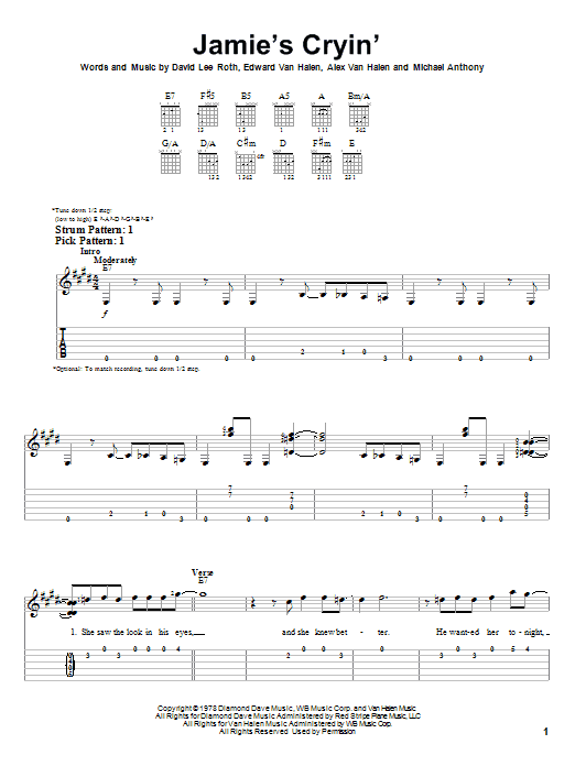 Tablature guitare Jamie's Cryin' de Van Halen - Tablature guitare facile