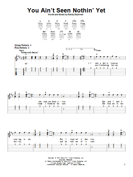 You Ain't Seen Nothin' Yet (Easy Guitar Tab)