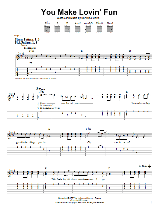 Tablature guitare You Make Lovin' Fun de Fleetwood Mac - Tablature guitare facile