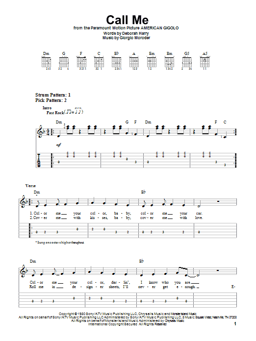 Call Me (Easy Guitar Tab)