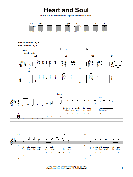 Tablature guitare Heart And Soul de Huey Lewis & The News - Tablature guitare facile