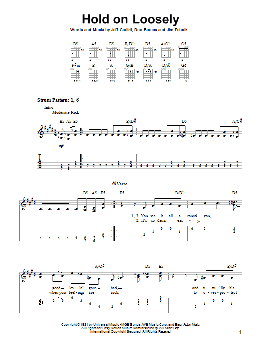 Hold On Loosely (Easy Guitar Tab)