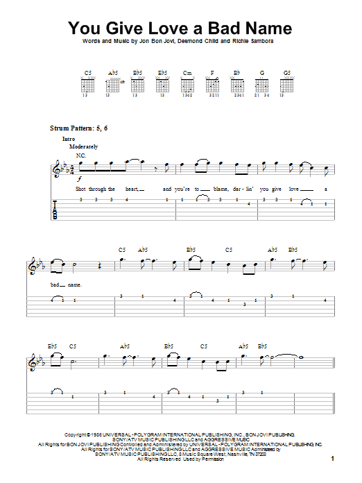 Tablature guitare You Give Love A Bad Name de Bon Jovi - Tablature guitare facile