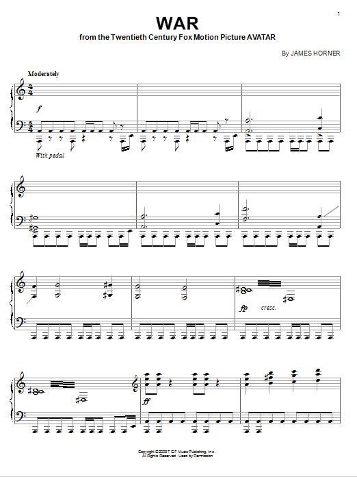 Partition piano War de James Horner - Piano Solo