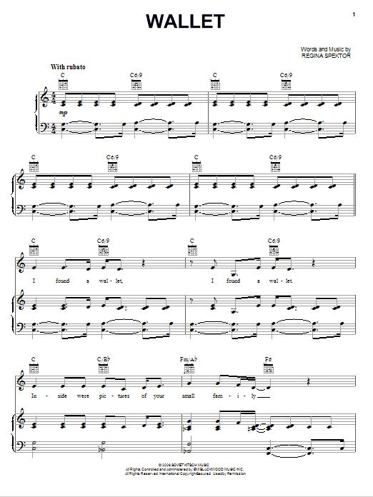 Partition piano Wallet de Regina Spektor - Piano Voix Guitare (Mélodie Main Droite)