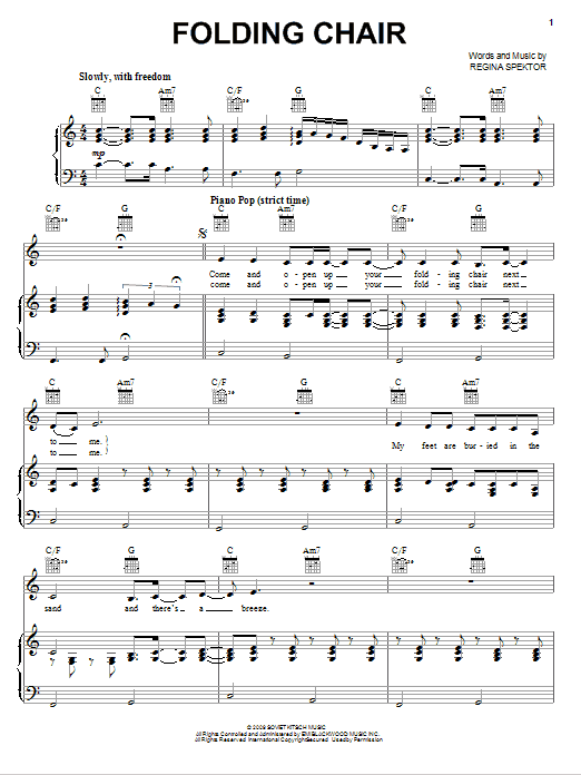 Partition piano Folding Chair de Regina Spektor - Piano Voix Guitare (Mélodie Main Droite)