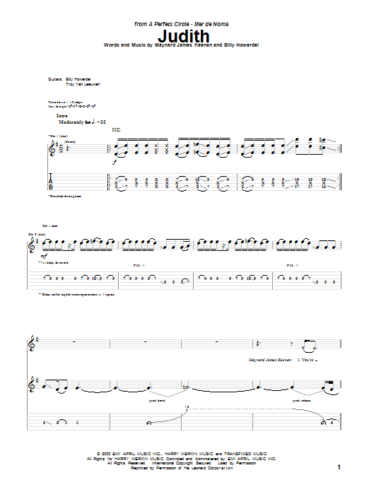 Tablature guitare Judith de A Perfect Circle - Tablature Guitare