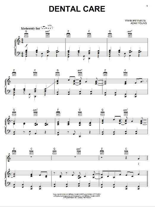 Partition piano Dental Care de Owl City - Piano Voix Guitare (Mélodie Main Droite)