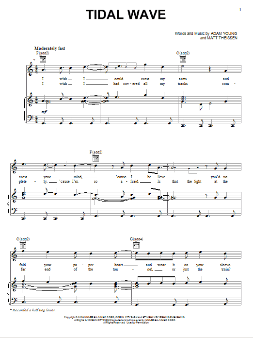 Tidal Wave Sheet Music