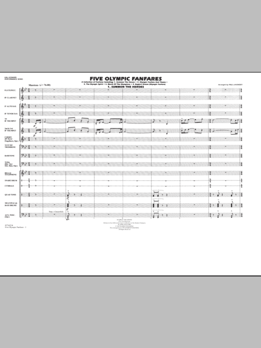 Five Olympic Fanfares (COMPLETE) sheet music for marching band by Paul Lavender. Score Image Preview.
