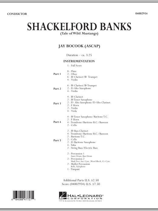 Shackelford Banks (Tale of Wild Mustangs) (COMPLETE) sheet music for concert band by Jay Bocook. Score Image Preview.