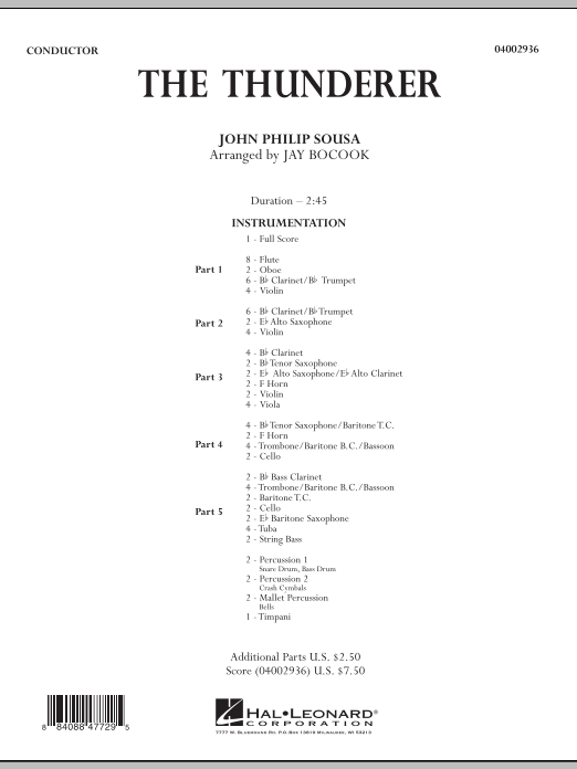 The Thunderer (COMPLETE) sheet music for concert band by John Philip Sousa and Jay Bocook. Score Image Preview.