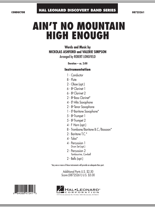 Ain't No Mountain High Enough (COMPLETE) sheet music for concert band by Robert Longfield, Nickolas Ashford and Valerie Simpson. Score Image Preview.