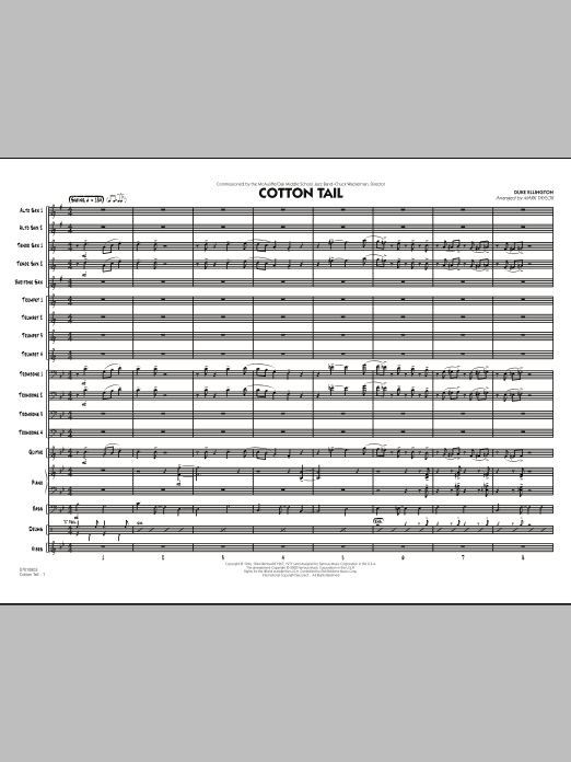 Cotton Tail (COMPLETE) sheet music for jazz band by Duke Ellington and Mark Taylor. Score Image Preview.
