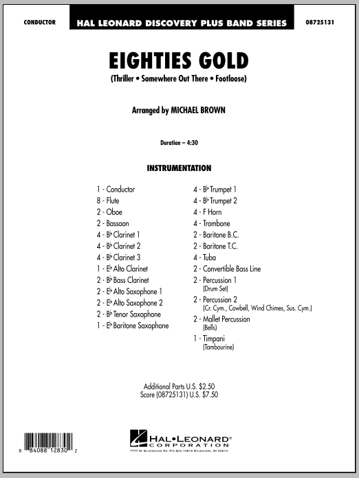 Eighties Gold (COMPLETE) sheet music for concert band by Michael Brown. Score Image Preview.