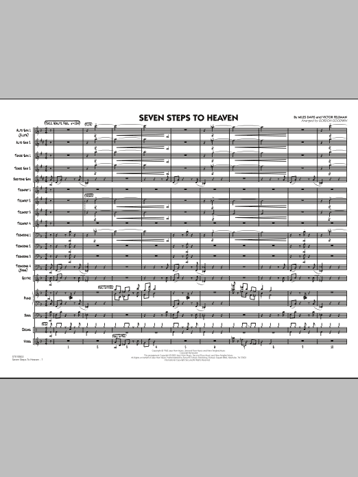 Seven Steps To Heaven (COMPLETE) sheet music for jazz band by Miles Davis and Gordon Goodwin. Score Image Preview.