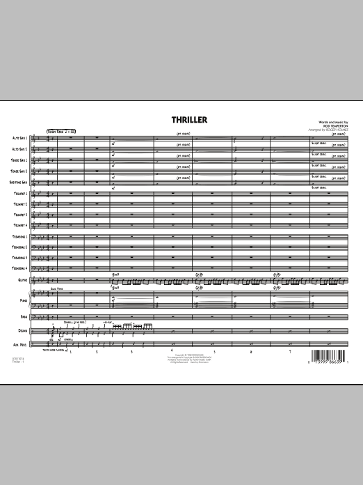 Thriller (COMPLETE) sheet music for jazz band by Roger Holmes, Michael Jackson and Rod Temperton. Score Image Preview.