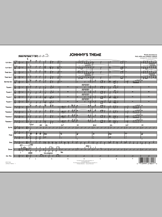 Johnny's Theme (from The Tonight Show) (COMPLETE) sheet music for jazz band by Paul Anka, John Higgins and Johnny Carson. Score Image Preview.