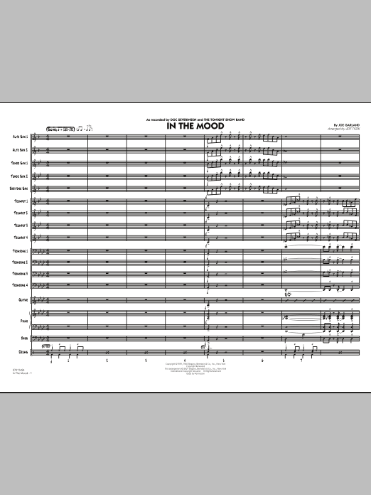 In The Mood (The Tonight Show version) - Conductor Score (Full Score) (Jazz Ensemble)