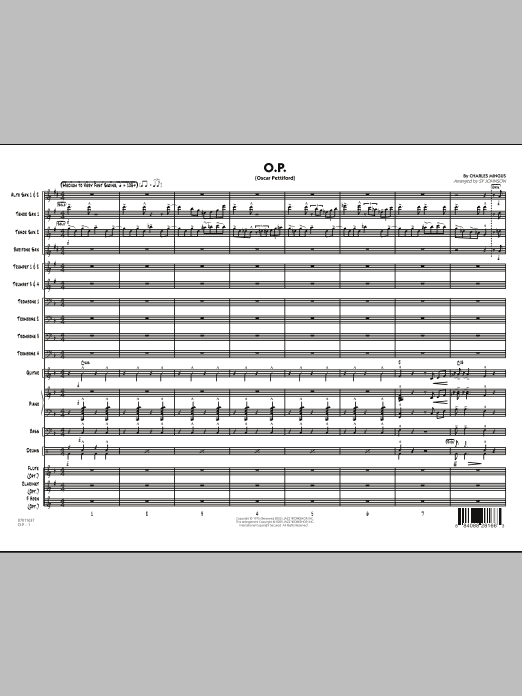 O.P. (Oscar Pettiford) (COMPLETE) sheet music for jazz band by Sy Johnson and Charles Mingus. Score Image Preview.