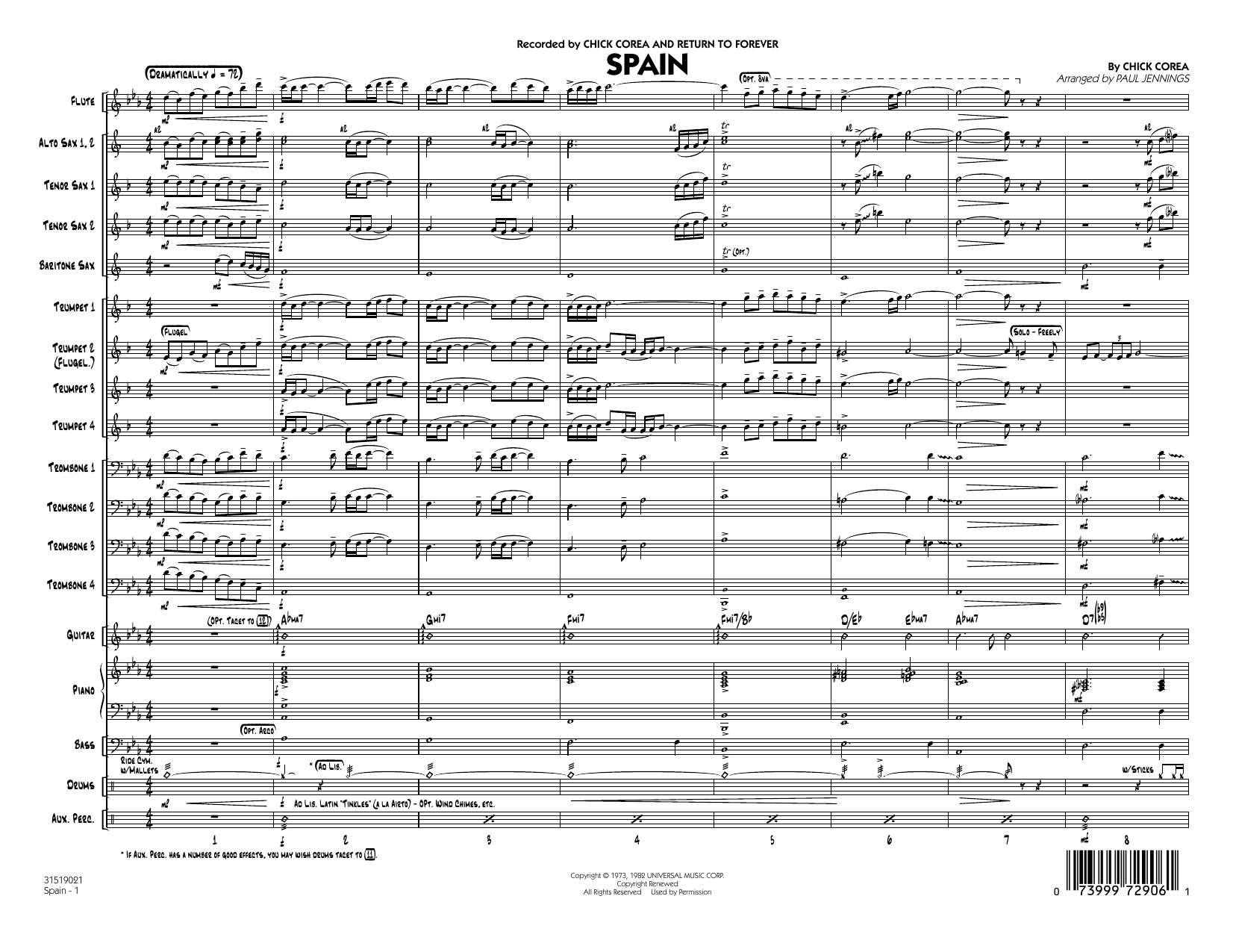 Spain (COMPLETE) sheet music for jazz band by Paul Jennings, Al Jarreau, Chick Corea and Joaquin Rodrigo. Score Image Preview.