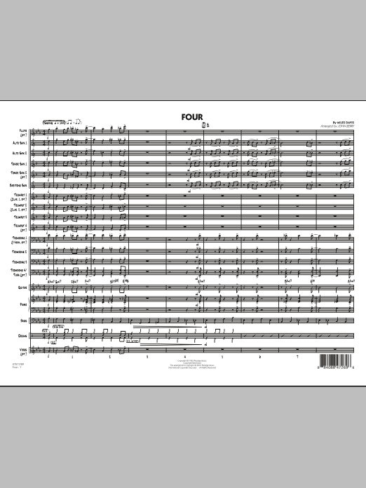 Four (COMPLETE) sheet music for jazz band by Miles Davis and John Berry. Score Image Preview.