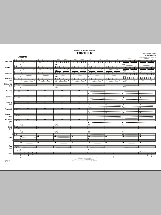 Thriller (COMPLETE) sheet music for jazz band by Paul Murtha, Michael Jackson and Rod Temperton. Score Image Preview.
