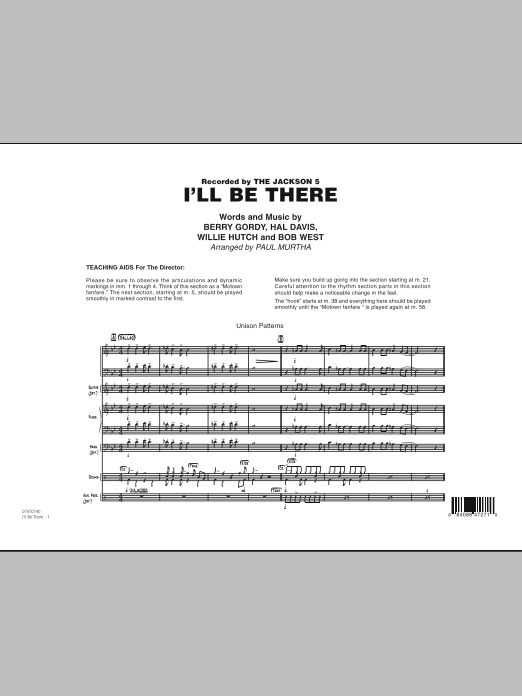 I'll Be There (COMPLETE) sheet music for jazz band by Paul Murtha, Berry Gordy, Hal Davis, Mariah Carey, The Jackson 5 and Willie Hutch. Score Image Preview.