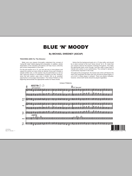Blue 'N' Moody (COMPLETE) sheet music for jazz band by Michael Sweeney. Score Image Preview.