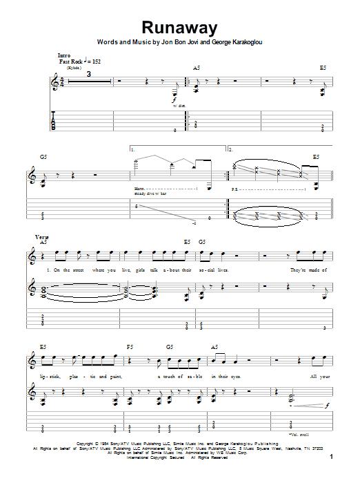 Tablature guitare Runaway de Bon Jovi - Playback Guitare