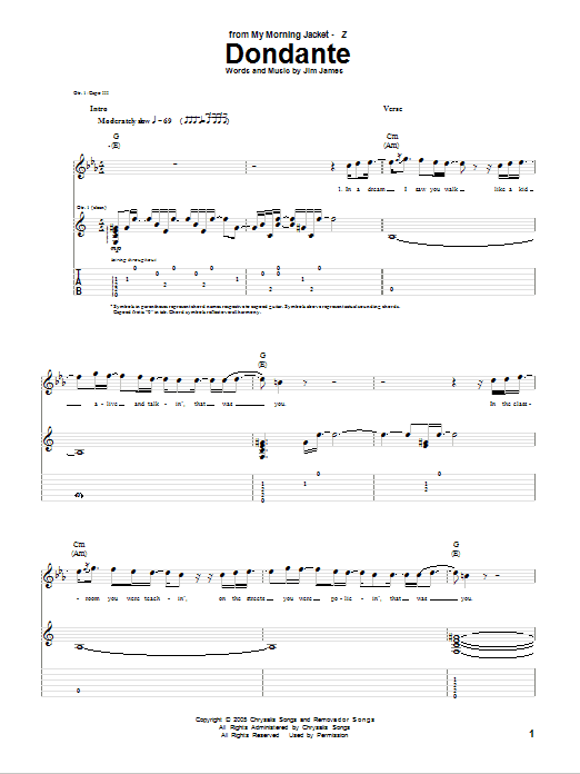 Tablature guitare Dondante de My Morning Jacket - Tablature Guitare