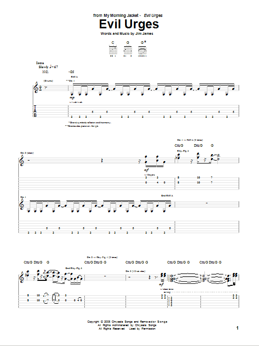 Tablature guitare Evil Urges de My Morning Jacket - Tablature Guitare