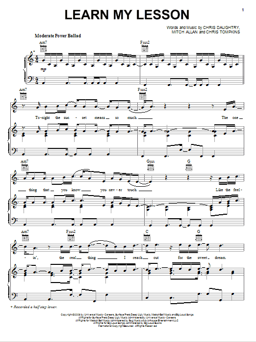 Learn My Lesson Sheet Music