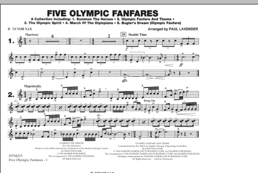 Five Olympic Fanfares - Bb Tenor Sax (Marching Band)