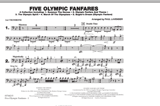 Five Olympic Fanfares - 2nd Trombone (Marching Band)