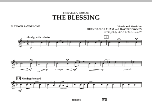 The Blessing (from Celtic Woman) - Bb Tenor Saxophone (Concert Band)