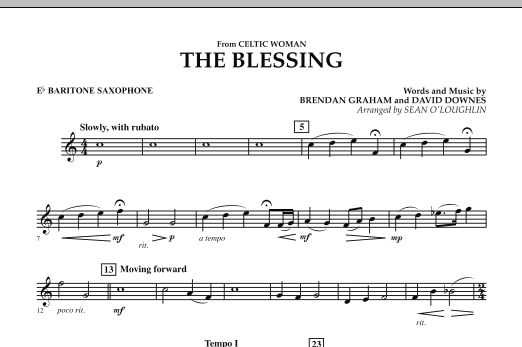 The Blessing (from Celtic Woman) - Eb Baritone Saxophone (Concert Band)