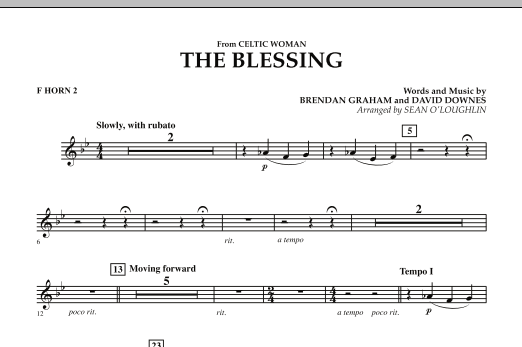 The Blessing (from Celtic Woman) - F Horn 2 (Concert Band)