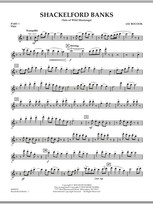 Shackelford Banks (Tale of Wild Mustangs) - Pt.1 - Flute (Concert Band: Flex-Band)