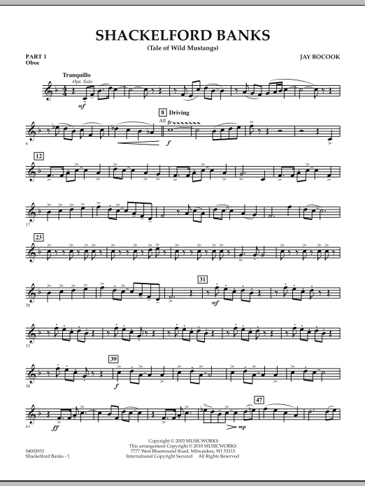 Shackelford Banks (Tale of Wild Mustangs) - Pt.1 - Oboe (Concert Band: Flex-Band)