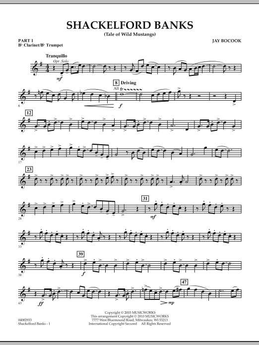 Shackelford Banks (Tale of Wild Mustangs) - Pt.1 - Bb Clarinet/Bb Trumpet (Concert Band: Flex-Band)