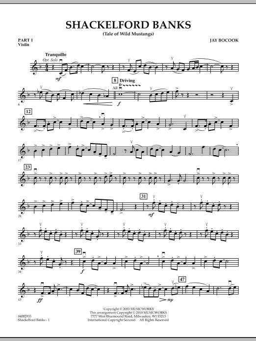 Shackelford Banks (Tale of Wild Mustangs) - Pt.1 - Violin (Concert Band: Flex-Band)