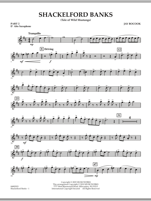 Shackelford Banks (Tale of Wild Mustangs) - Pt.2 - Eb Alto Saxophone (Concert Band: Flex-Band)