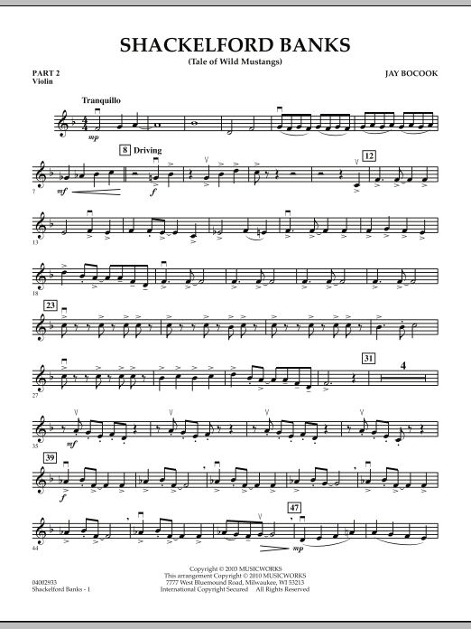 Shackelford Banks (Tale of Wild Mustangs) - Pt.2 - Violin (Concert Band: Flex-Band)