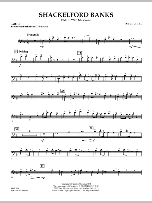 Shackelford Banks (Tale of Wild Mustangs) - Pt.4 - Trombone/Bar. B.C./Bsn. (Concert Band: Flex-Band)