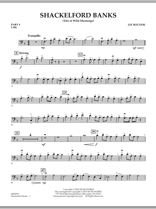Shackelford Banks (Tale of Wild Mustangs) - Pt.4 - Cello (Concert Band: Flex-Band)