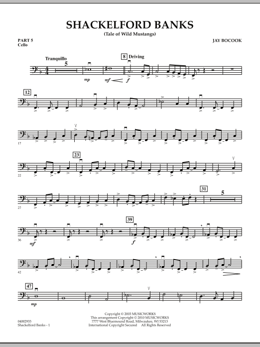 Shackelford Banks (Tale of Wild Mustangs) - Pt.5 - Cello (Concert Band: Flex-Band)