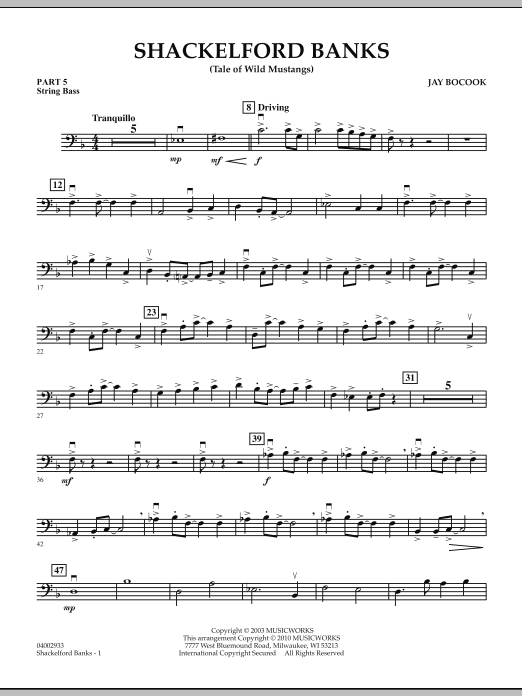 Shackelford Banks (Tale of Wild Mustangs) - Pt.5 - String/Electric Bass (Concert Band: Flex-Band)