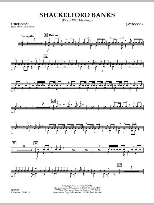 Shackelford Banks (Tale of Wild Mustangs) - Percussion 1 (Concert Band: Flex-Band)